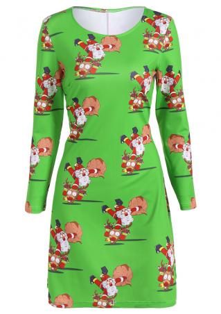 Christmas Santa Claus Reindeer Printed Casual Dress