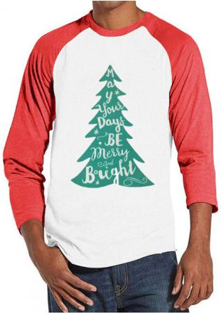 Christmas Tree Letter Printed Splicing Man T-Shirt