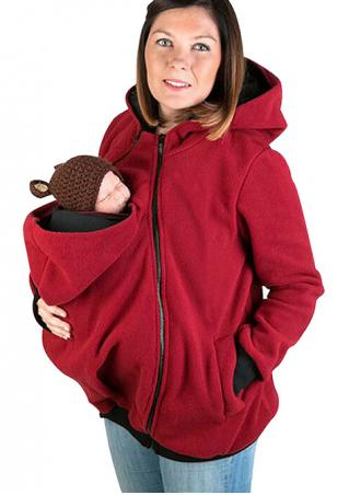 Solid Side Zipper Kangaroo Pocket Hoodie