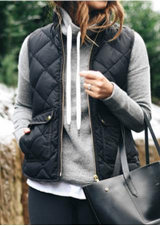 Solid Front Pockets Quilted Vest