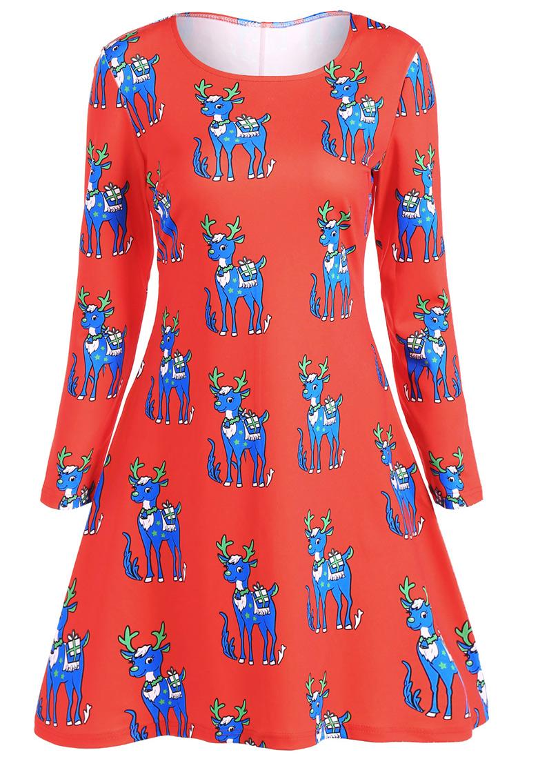 Christmas reindeer printed long sleeve casual dress bellelily