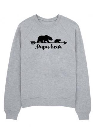 Papa Bear Arrow Printed Long Sleeve Sweatshirt