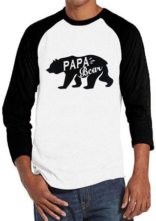 PAPA Bear Printed Splicing O-Neck T-Shirt