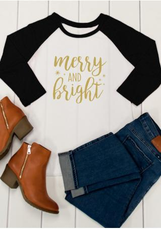 Merry AND Bright Printed Splicing T-Shirt