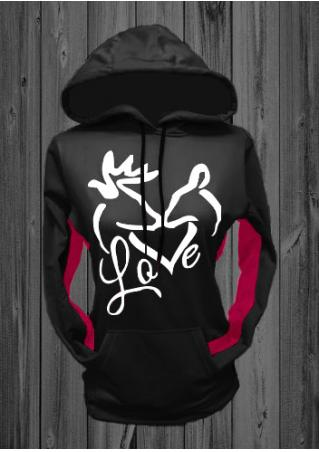 Christmas Love Printed Kangaroo Pocket Chic Hoodie