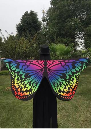 Multicolor Butterfly Wing Printed Cape