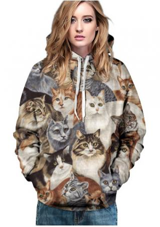 Lovely Cat Pocket Drawstring Hoodie