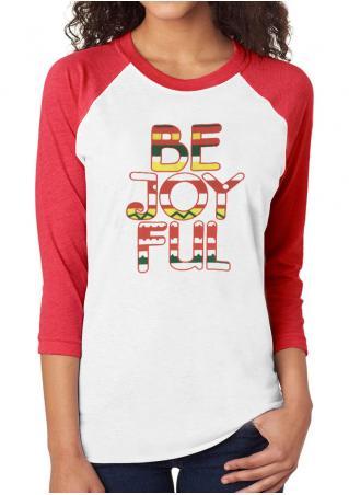 BE JOYFUL O-Neck Baseball T-Shirt
