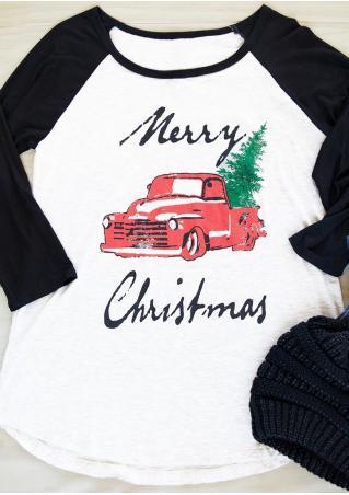 Merry Christmas Car Tree Baseball T-Shirt