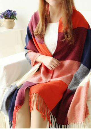 Multicolor Plaid Tassel Soft Scarf