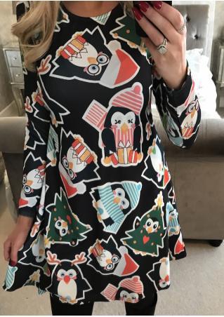 Christmas Tree Penguin Mini Dress