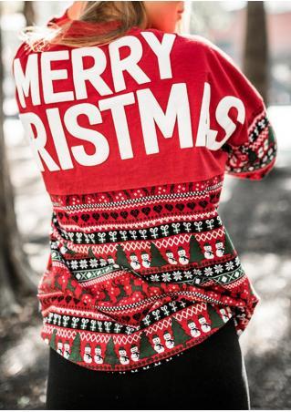 Merry Christmas Snowflake Batwing Sleeve Sweatshirt