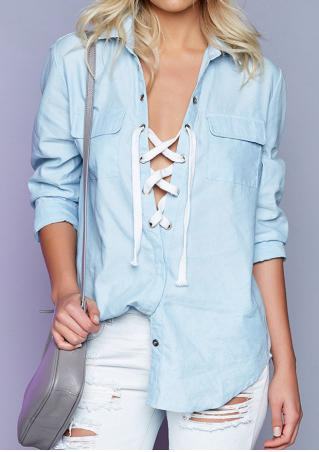 Lace Up Front Pockets Shirt