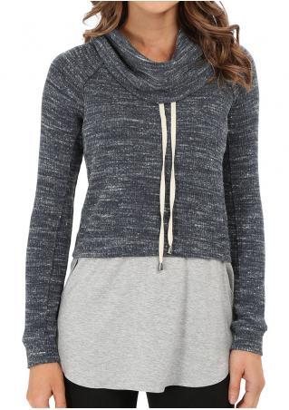 Splicing Drawstring Brushed Sweater