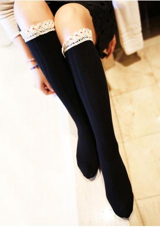 Lace Calf-High Knitted Socks