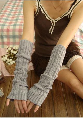 Solid Fingerless Knitted Gloves