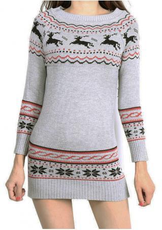 Christmas Reindeer Snowflake Knitted Mini Dress