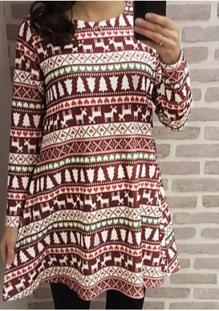 Christmas Aztec Swing Mini Dress