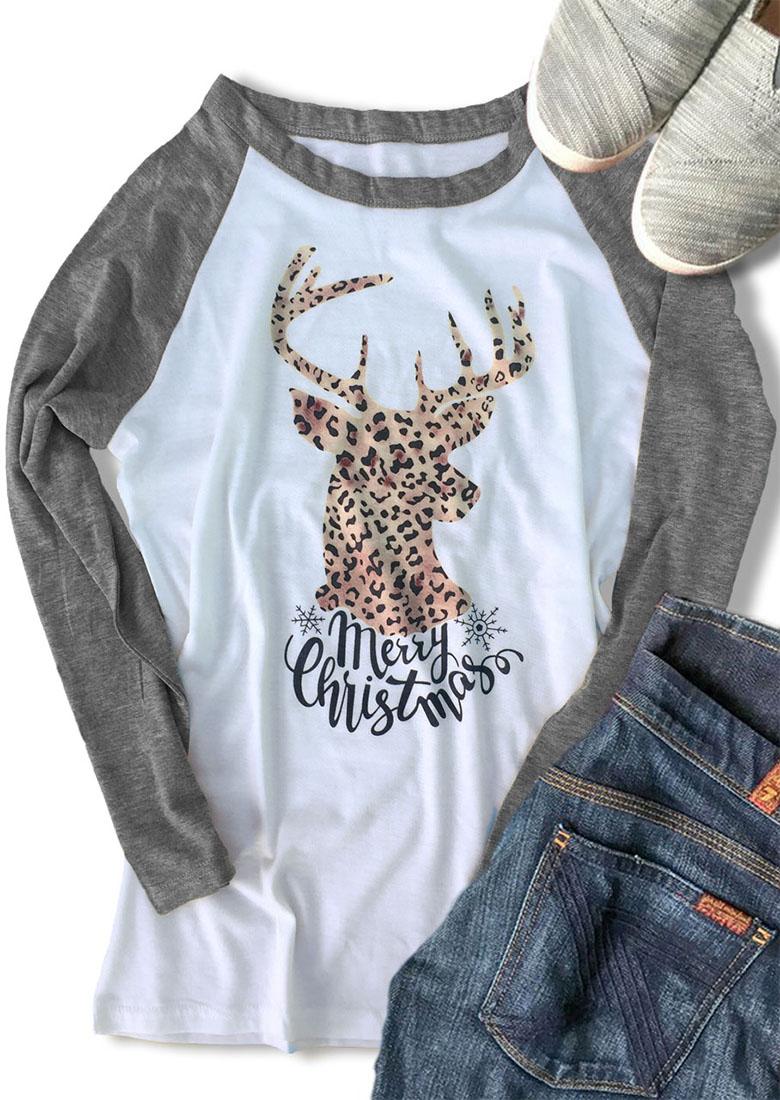 Merry Christmas Reindeer Leopard Baseball T Shirt Bellelily