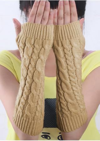 Solid Knitted Fingerless Long Gloves