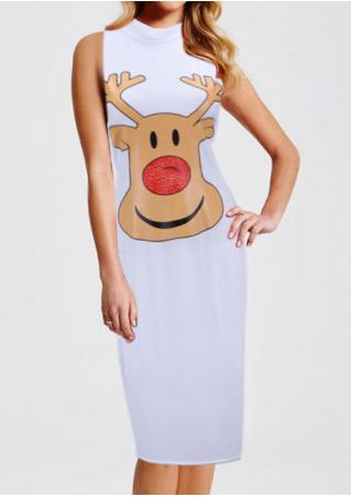 Christmas Cartoon Reindeer Bodycon dress