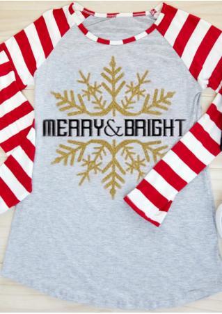 Christmas Snowflake Merry & Bright Baseball T-Shirt