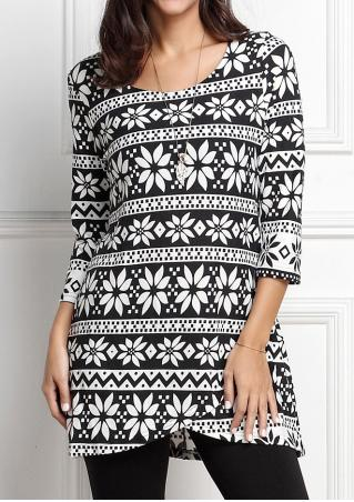 Asymmetric Printed Three Quarter Sleeve Dress Without Necklace