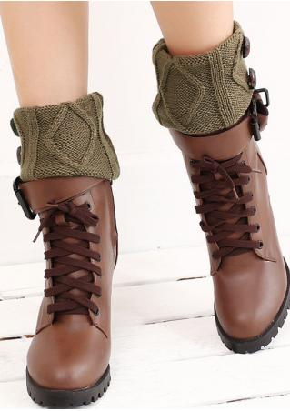 Solid Button Knitted Short Ankle Warmers