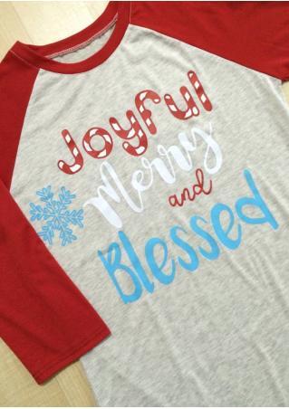 Christmas Snowflake Joyful Merry and Bright Baseball T-Shirt
