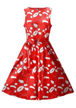 Christmas Hat Dress with Belt