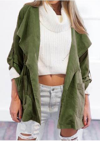 Solid Pocket Lace Up Hooded Coat