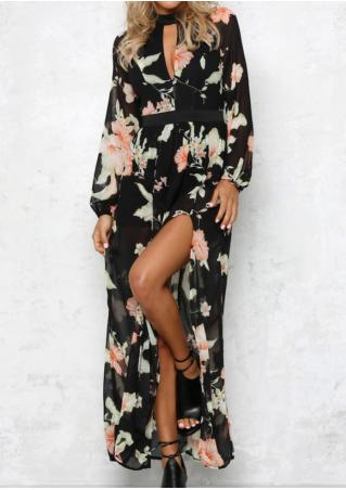 Floral Hollow Out Slit Dress