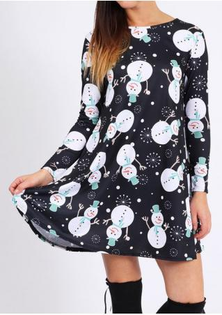 Christmas Snowball Snowman Swing Mini Dress