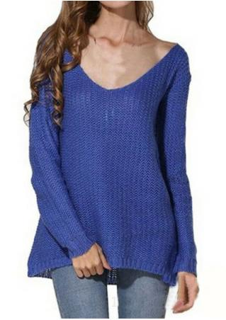 Solid Knitted Sweater without Necklace