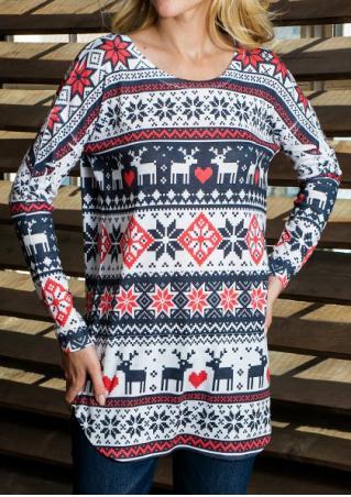Christmas Snowflake Reindeer Batwing Sleeve Blouse