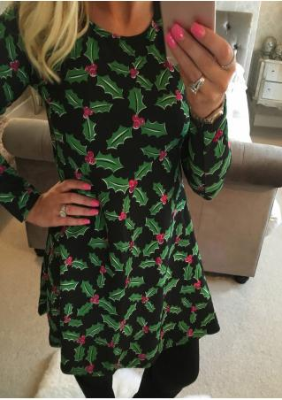 Christmas Leaf Casual Dress