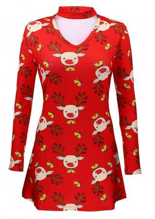 Christmas Reindeer Mini Dress with Choker Detail