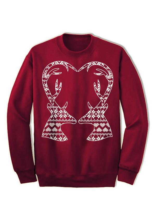 Christmas Kiss Reindeer Long Sleeve Sweatshirt - Bellelily