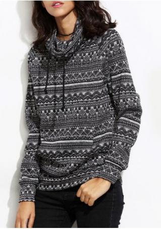 Geometric Turtleneck Drawstring Sweater