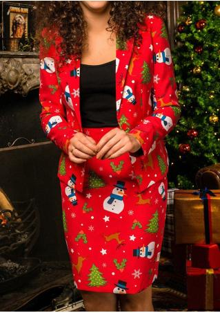 Christmas Snowman & Tree & Reindeer Blazer and Skirt Set