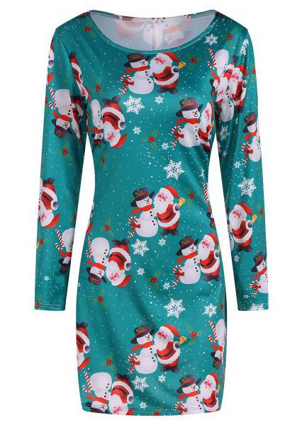 Christmas Santa Claus Snowman Snowflake Mini Dress