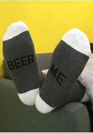 Beer Me Contrast Color Socks