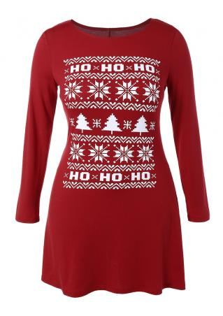 Christmas Snowflake Ho Ho Ho Mini Dress