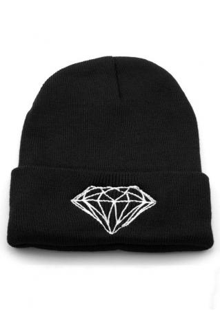 Diamond Short Turn Up Knit Hat