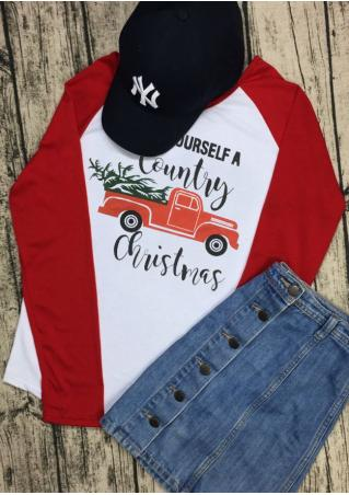 Have Yourself a Country Christmas Baseball T-Shirt