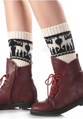 Christmas Reindeer Knit Socks
