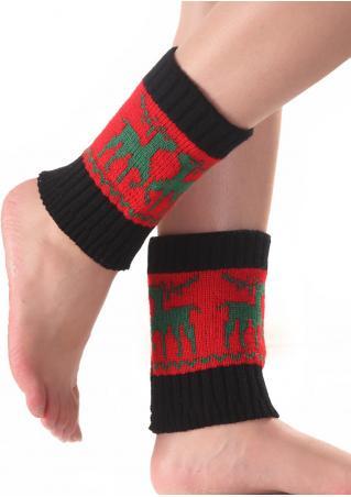 Christmas Reindeer Color Block Knit Socks