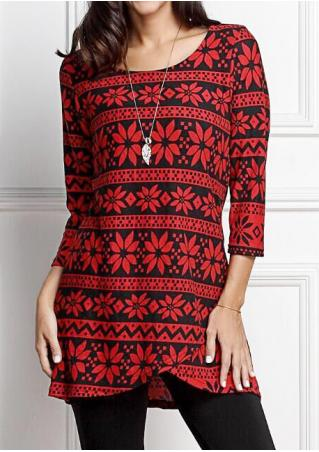 Asymmetric Printed Three Quarter Sleeve Mini Dress Without Necklace