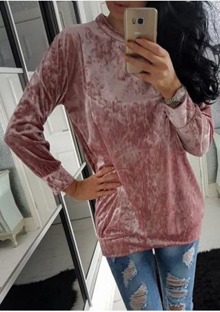 Solid Velvet Casual Sweatshirt