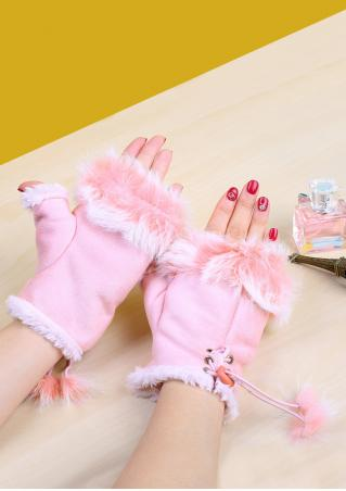 Solid Soft Pompon Fingerless Gloves